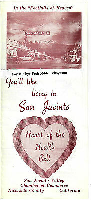1960's San Jacinto Chamber of Commerce Advertise Brochure California Valley Map