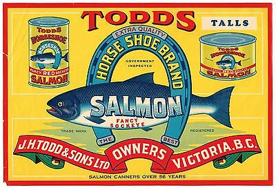 Salmon Can Crate Label Canada Canadian Vintage C1930 Todds Horseshoe Victoria Bc