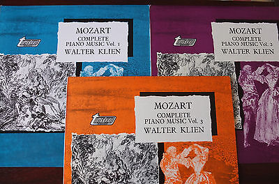 MOZART COMPLETE PIANO MUSIC VOLS 1-3 3LP's KLIEN TURNABOUT TV 37001/3 NM ENGLAND