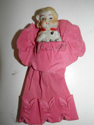 Vintage Small Bisque Doll Holding A Dog -  Made In Japan - Crepe Paper Dress