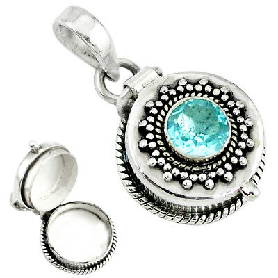 925 Sterling Silver Natural Blue Topaz Round Poison Box Pendant Jewelry K39630