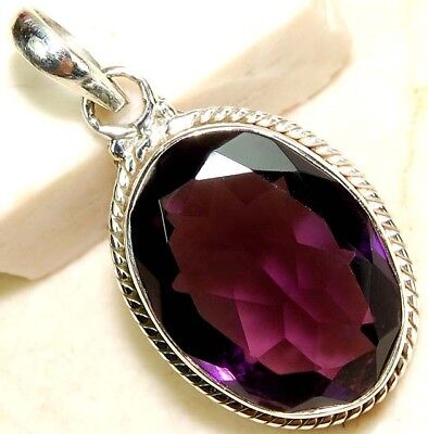 6CT Natural Amethyst 925 Solid Genuine Sterling Silver Pendant Jewelry, S9-5
