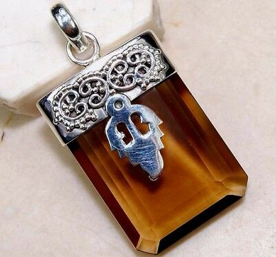 24CT Natural Smoky Topaz 925 Solid Genuine Sterling Silver Pendant Jewelry, S9-5
