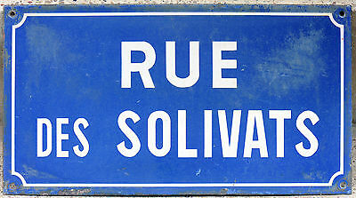 Old French enamel street sign plate road name plaque Rue Solivats Epinay Paris