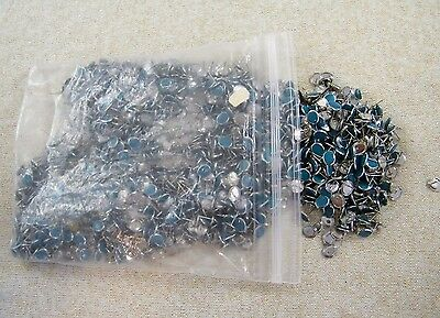 (1400) Pierced Earring Posts / Studs ~ Silver Tone W/ Turquoise Findings