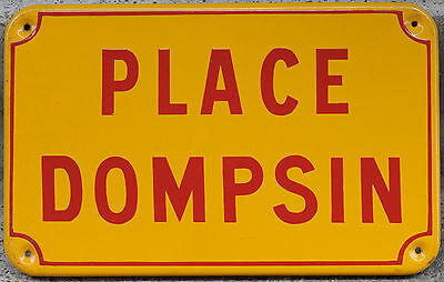 Old French enamel street sign plate road name plaque Place Dompsin Lomme Lille