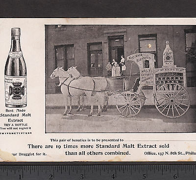 Standard Malt Extra Beer Delivery Wagon Philadelphia PA Bottle Advertising Card