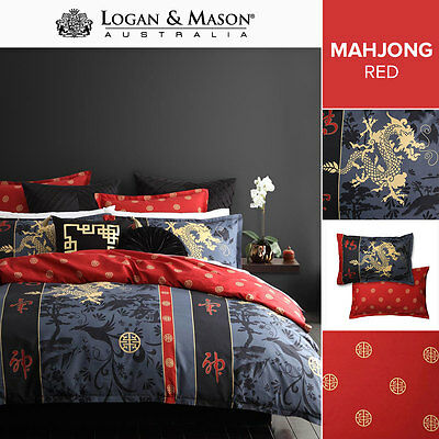 Logan and Mason Mahjong Red Dragon DOUBLE Size Bed Doona Duvet Quilt Cover Set