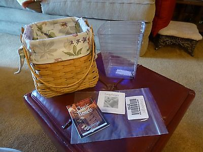 2002 Longaberger Basket-Tiny Tote-With Liner, Signed, Dated-Nice Condition