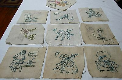 Lot 10 Antique Nursery Rhymes Embroidered Quilt Blocks