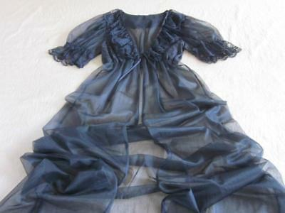 Vintage Lacy Sheer Black Chiffon Robe Puff Sleeves S/M NEW Negligee Inner Most