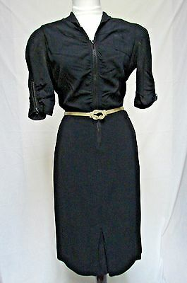 1940s Vintage NELLY DON LITTLE BLACK RAYON RUCHED COCKTAIL WIGGLE DRESS