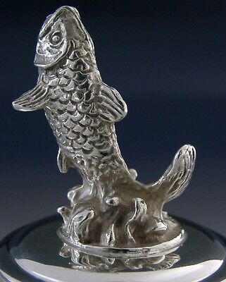 Beautifully Modelled Sterling Silver Leaping Salmon Paper Weight 2009
