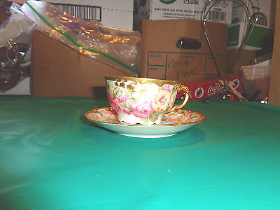 Vintage J Pouyat Limoges Floral With Gold Trim Hand Painted Tea Cup and Saucer