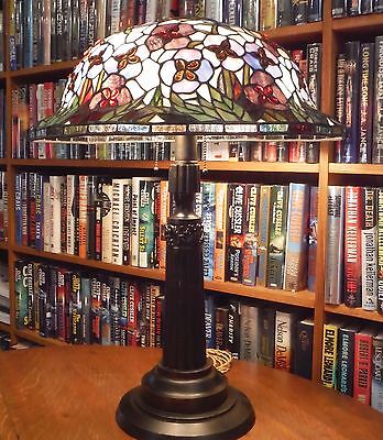 Antique Leaded Stained Glass Large Lamp Bradley & Hubbard Handel Tiffany Styles