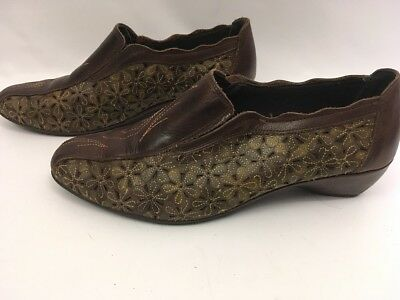 Womens Pikolinos Made In Spain Brown Pierced Leather Loafers Size EU 40 US 10