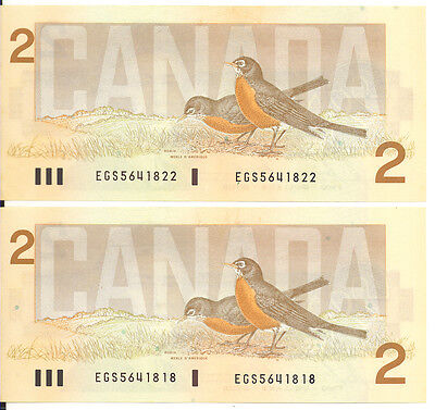 Bank of Canada 1986 $2 Two Dollars Lot of 2  Notes EGS Prefix Choice UNC
