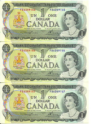 Bank of Canada 1973 $1 One Dollar Lot of 3 Notes UNC