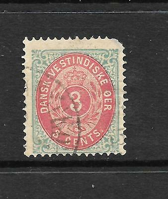 DANISH WEST INDIES  1873-02  3c  BROWN RED/TURQUOISE    FU  SG 15