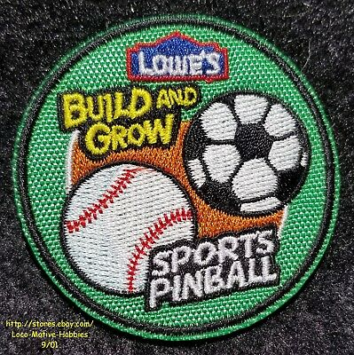LMH PATCH Badge 2011 SPORTS PINBALL Baseball Soccer LOWES Build Grow Project
