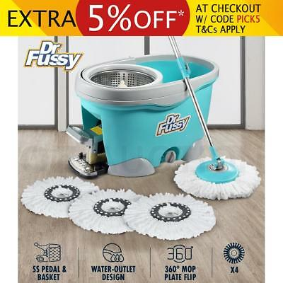 DR FUSSY Spin Mop Bucket System Hurricane Mop with 4 Bonus Mop Heads 9L