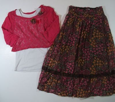 JUSTICE brown floral maxi SKIRT pink lace top over tank SET GIRLS 8