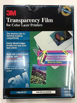 """3M Lot of 3 x 50 Transparency Film For Laser Printers CG3700 8.5""""X11"""" 150 Sheets"""