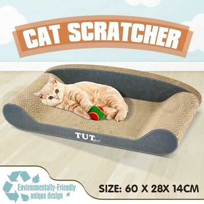 Cat Scratching Post Scratcher Toys Corrugated Cardboard Sofa Shape 60x28x14CM