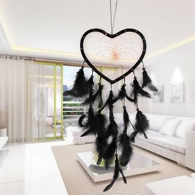 Black Handmade Heart Dream Catcher with Feather Wall Car Hanging Decor Ornament