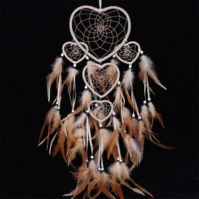 Handmade Hanging Heart Dream Catcher with Feather Wall Home Decoration Ornament