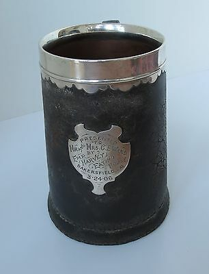 GORHAM LEATHER TANKARD STERLING SILVER Fred Harvey Eating House 1906 Arts Crafts
