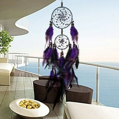 Handmade Double Circle Dream Catcher with Feathers Hanging Decoration Ornament