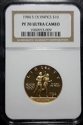 1984-S Olympic Gold $10 Proof Commemorative NGC PR70 PF70 Ultra Cameo