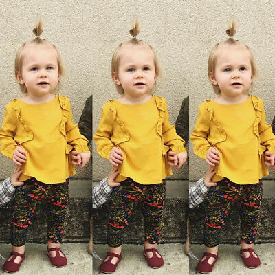 Toddler Baby Children Girls Lovely T-Shirt Tops Ruffle Blouse Clothes Outfits