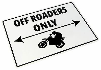Metal off roaders only parking sign motorcycle