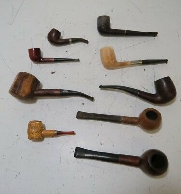 Lot of 9 Vintage Smoking Pipes Imported, Briar, Birdseye++