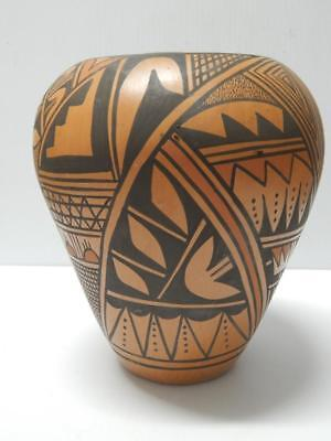 LARGE AND TALL VINTAGE HOPI PUEBLO INDIAN POTTERY VASE FORM POT by A.C.