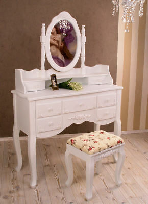 SHABBY CHIC CONSOLE DE MAQUILLAGE Table de toilette & Tabouret Blanc
