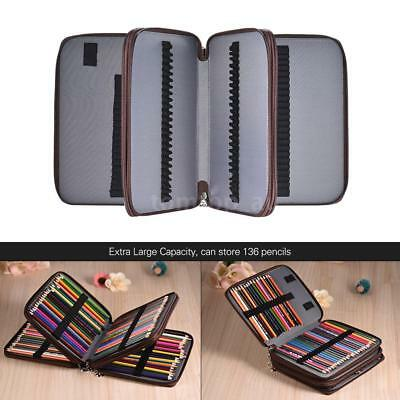 136 Slots Zippered PU Color Pencil Case for Artists Handle Strap Carrying L3X8