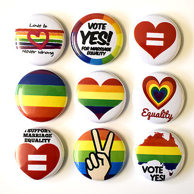 Gay Pride Marriage Equality Badges Buttons Pins Set Lot x 9 - 25mm GLBQ Queer