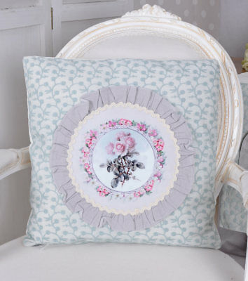 Vintage Cushion Shabby Chic Roses Decorative incl. Filling Couch
