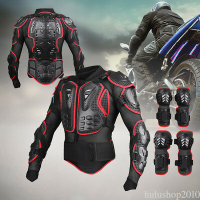 Motorcycle Body Jacket Motocross Racing Protective Body Armor Knee Pad Glove Set