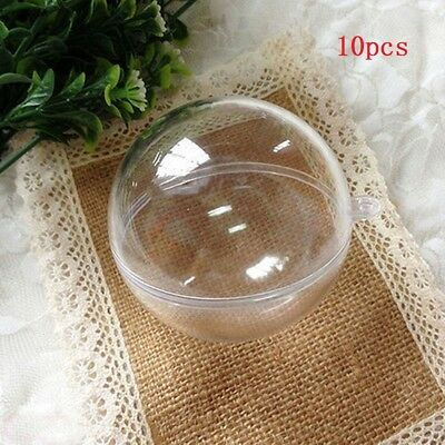 10X Clear Fillable Candy Box Christmas Bauble Xmas Tree Ball Ornament Decor 4CM
