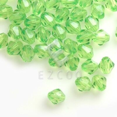 400pcs Acrylic Bicone Spacer Beads Jewellery Making Wholesale 4x3x3mm Green