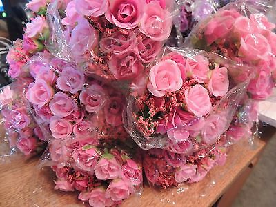 10 Bunches Small Pink Artificial Roses Flowers Silk Leaf Bouquet Home Decor