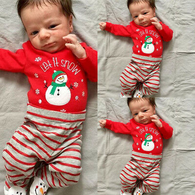 Snowman Baby Boys Girls Long Sleeve Top Romper Pants Xmas 2Pcs Outfits Clothes