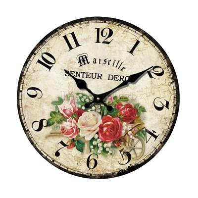Large Vintage Rustic Wooden Wall Clock Home Kitchen Retro Shabby Chic Decor