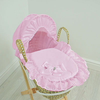New 4Baby Broderie Anglaise Pink Bow Natural Palm Toy Dolls Moses Basket