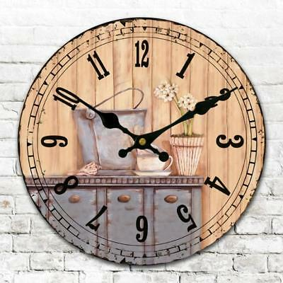 Silent Vintage Style Wooden Wall Clock Shabby Chic Rustic Home Decor 34cm A