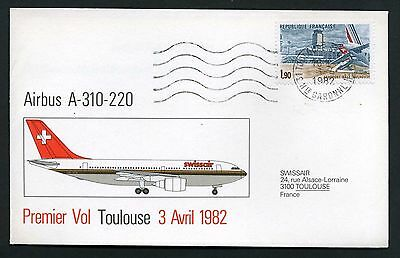 Switzerland 1982 Swiss Air - 1st Flight Cover A310-220 - Toulouse